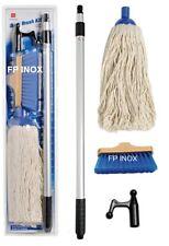 Kit de Nettoyage 1 gaffe télescopique + 1 vadrouille en coton + 1 brosse à fibre