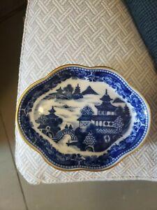 "Mottahedeh Vista Alegre Blue Canton Trinket Dish 4 1/2"" by 3 1/2"" Gold Trim"
