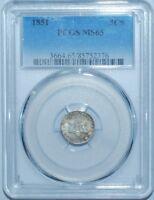 1851 PCGS MS65 3CS Three Cent Silver