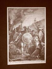 Stampa del 1888 Il sacco di Roma dell'anno 410 ad opera dei Visigoti