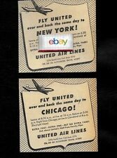 UNITED AIRLINES 1949 OVER & BACK SAME DAY CLEVELAND TO LGA & CHICAGO 2 AD'S