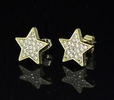 Plated Hip Hop Fashion Stainless Steel Men Women Star Earrings Stud Gold Silver