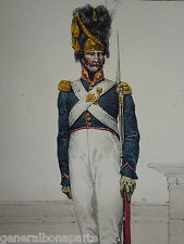 Litho H. LECOMTE COSTUME UNIFORME GARDE à PIED ROI LOUIS XVIII RESTAURATION 1815