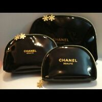 BEAUTIFUL CHANEL SET OF 3 MAKE UP COSMETIC BAGS TRAVEL GIFT GENUINE CHEAPEST BAG