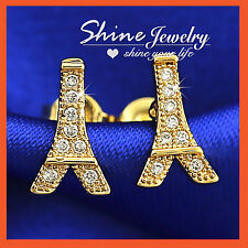 9K GOLD GF PARIS EIFFEL TOWER CREAT DIAMONDS LADY GIRLS SOLID EARRINGS XMAS GIFT