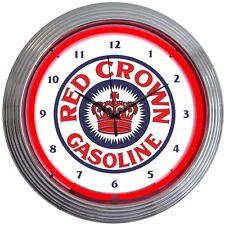 Red Crown Neon Clock Sign Standard Oil Texaco Gasoline Gas Pump Globe Wall Lamp
