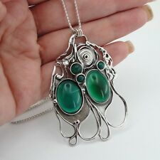 Hadar handcrafted Large 925 Sterling Silver Green Agate Pendent (H 4016