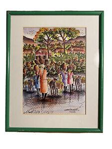 MARTINO DORCE HAITI TREES MARKET SCENE VINTAGE ORIGINAL WATERCOLOR PAINTING 98'