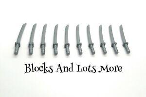 NEW LEGO 10 x Silver Katana Swords Ninjago Ninja Weapons Accessories Part 21459