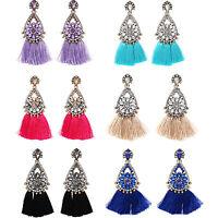 Women Fashion Jewelry Rhinestone Crystal Flower Tassel Dangle Ear Stud Earrings