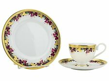 Classic Gold-Plated Porcelain Dinner Service for One, 5-Piece Dinnerware Set