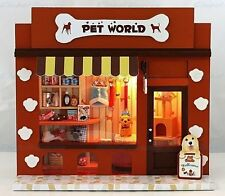 Wooden Dollhouse Miniature DIY 3D House Pet World Store Shop Model Kit w/Light