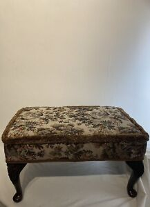 Tapestry Large Vintage Brown Foot Stool Removal Wooden Legs