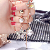 Female Earrings Pearl Pentagram Long Star Tassel Rhinestone Ear Studs Jewelry 6A