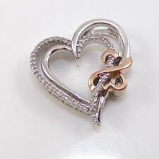 Jane Seymour Open Hearts 14K Gold Sterling Silver Diamond Pendant LHA5