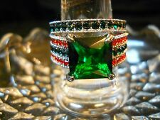 RHODIUM OVER SILVER EMERALD, RED RUBIES, BLACK ONYX, AND WHITE CZ'S  SET SIZE 7