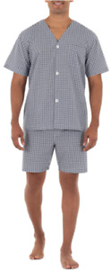 Fruit of the Loom Men's Broadcloth Short Sleeve Pajama Set   Size Medium