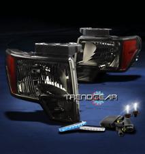 2009-2012 FORD F-150 SMOKE/AMBER CRYSTAL HEAD LIGHTS LAMP+BLUE DRL LED+HID 6000K