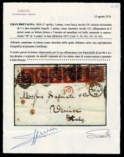 SP514 - 1873 Lettera Londra a Venezia penny red 130 +122 cert. Sorani