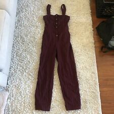Hollister Women Jumpsuit Red Printed Boho Smocked Wide Legs Striped Size Small