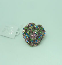 green blue yellow stones- bling Fashion Ring stretch-Flower silver tone -pink