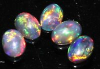 4X6 MM 5 PCS LOT NATURAL ETHIOPIAN WELO FIRE OPAL BLACK CAB * EB7560