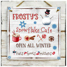 Wooden Hanging sign Christmas Frosty's Snowflake Cafe Snowman Hot Chocolate