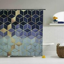 Blue Gold Cube Geometry Abstract Pretty Modern Fabric Shower Curtain + Hooks