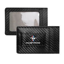 Ford Mustang Tri-Bar Black Carbon Fiber RFID Card Holder Wallet with Money Clip