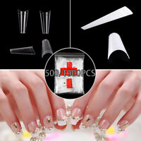 500-1000pcs Clear Natural Color Half French False Acrylic Nail-Art Tips UV Gel