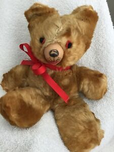 """Antique Rushton-Teddy Bear -1930's Mohair 10"""" Stitched Eyes/Rubber Mouth -Rare"""