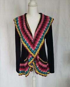 Anthropologie Black Crochet Rainbow Cardigan Sweater Small
