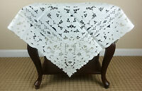 """Polyester Square Embroidered Embroidery Cutwork 36"""" Tablecloth Night Stand Cover"""