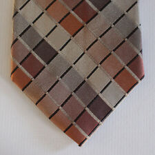 NEW Croft & Barrow Silk Neck Tie with Orange, Brown and Beige Plaids 1587