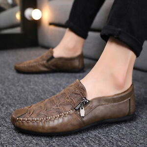 Men Zipper Breathable Moccasin Shoe Nonslip Artificial Pu Leather Round Toe Flat