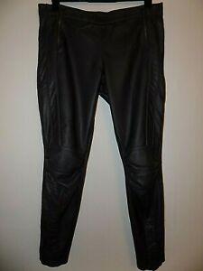 Ladies Womens Dark Grey Faux Leather Biker Style Trousers Size Uk 16 Worn Once