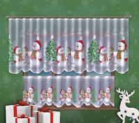 "White Cafe Net Curtain Christmas Snowman  Lace 24"" drop Price Per Metre  Decor"