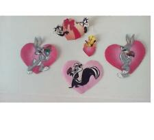 "Looney Tune Fabric Heart 2.5"" Appliques Bugs,La Pew,Tweety lot of 5 craft iron"