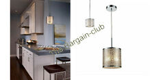 Westmore Lighting Polished Stainless Steel Mini Textured Glass Cylinder Pendant