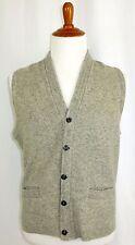 Mens Vintage Campus 100% Lambs Wool Button Front V-Neck Vest Grey L 46 48