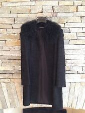 Vintage Coat - Black Textured Wool w/ Mongolian Lamb Collar - Tahari - 12