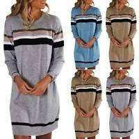 Plus Size Women Ladies Baggy Sweater Jumper Mini Dress Winter Long Pullover Top