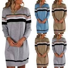 Women Striped Sweater Jumper Dress Winter Ladies Pullover Mini Dress Plus Size