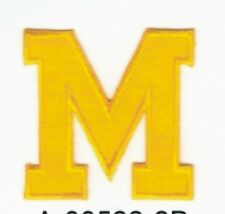 """2"""" x 2"""" Yellow Monogram Block letter M Embroidery Patch"""