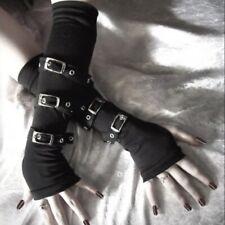 Women's Punk Long Fingerless Gloves Gothic Bracers Arm Warmer Buckle Mittens