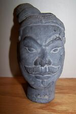 Vtg Tomb Warrior ~ Terra Cotta Army Signed Head Figure Stone Look Carved Pottery