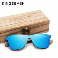 KINGSEVEN Luxury Walnut Wood Sunglasses Polarized Wooden Designer Mirrored New