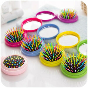Brush Travel Purse Travel Accessory Folding Comb Folding Mirror Comb Hair CoY JG