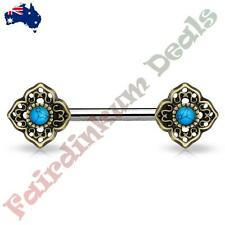 Nipple Barbell With Antique Gold Tribal Flower Ends Turquoise Centre