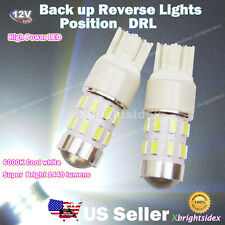 2x 7443 7440 Back Up Reverse LED Light Bulbs DRL Projector Lens Cool White